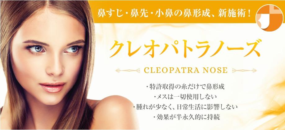 鼻すじ・鼻先・小鼻の鼻形成、新施術! クレオパトラノーズ CLEOPATRA NOSE ・特許取得の糸だけで鼻形成・メスは一切使用しない・腫れが少なく、日常生活に影響しない・効果が半永久的に持続
