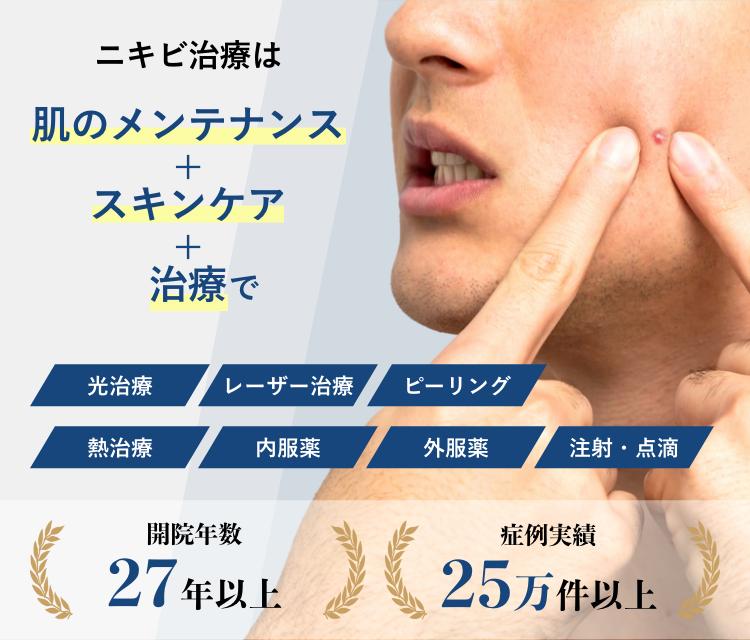 ニキビ治療は肌のメンテナンス+スキンケア+治療で